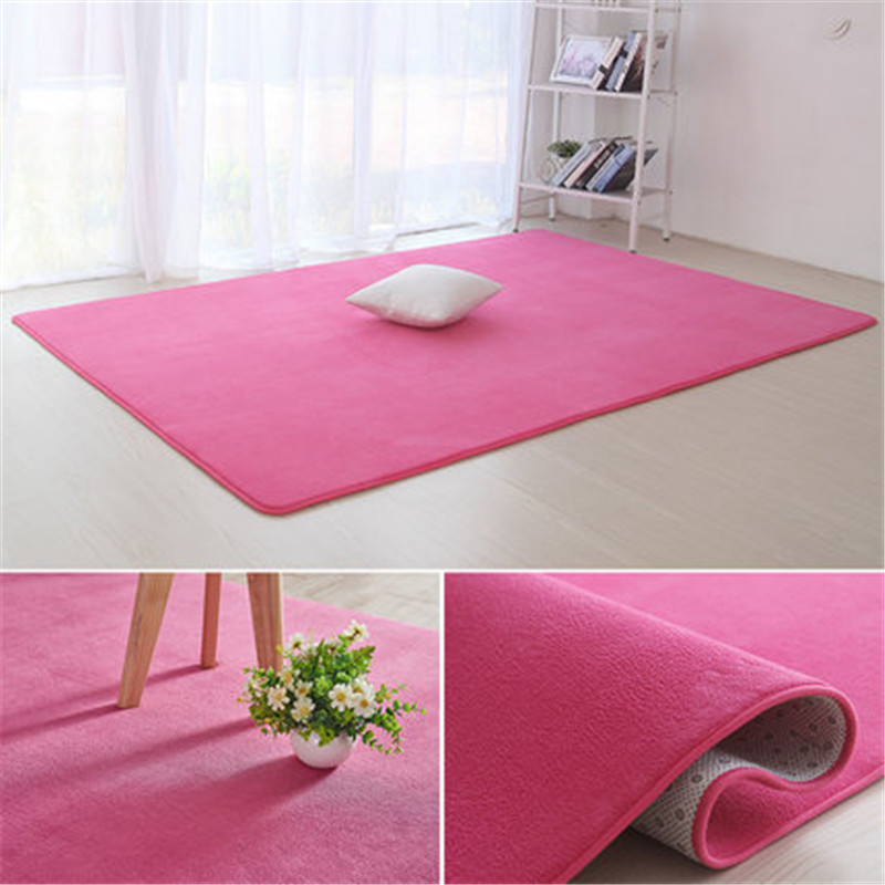 Thickened Coral Velvet Plain Carpet Non-slip Rug Living Room Pad Coffee Table Blanket Bedroom Cushion Bedside Yoga Mat