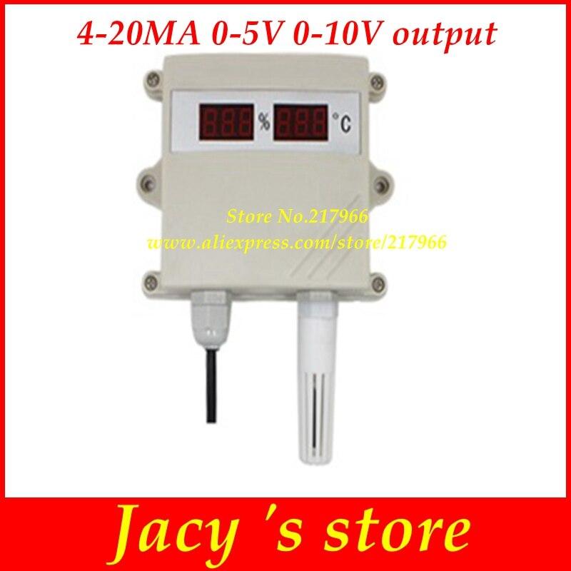 Temperature and humidity transmitter sensor 4 20mA 0 10V 0 5V output digital led display moisture
