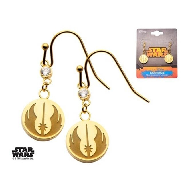 Star Wars Swjser04 Womens Jedi Symbol Cz Hook Dangle Stainless Steel Earrings Ip Gold-colored бордюр aparici enigma symbol gold moldura 3x20