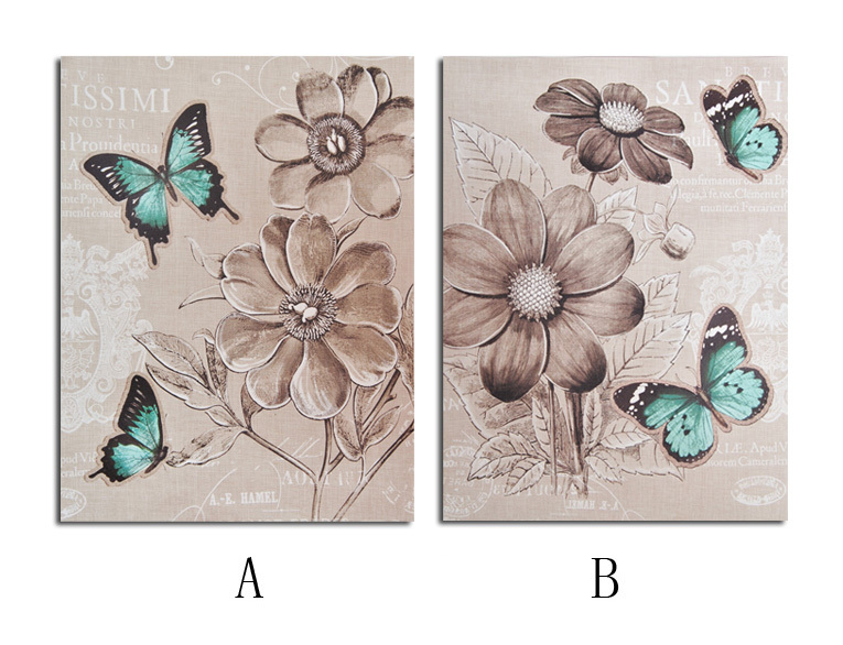 2 piece Europe Vintage Sketch feeling Illustration blue Butterfly white flower Canvas Painting Canvas art home decor wallpaper