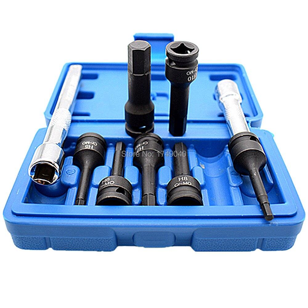 Werkzeuge Steckdosen 7 Stück Hex Bit Sockel Set 3/8 platz Stick Auswirkungen Buchse H4 Zu H12 Mit 2 Stücke 3/8 Platz Stick Ratchet Sockel Extender Garage Werkzeug Hohe QualitäT Und Geringer Aufwand