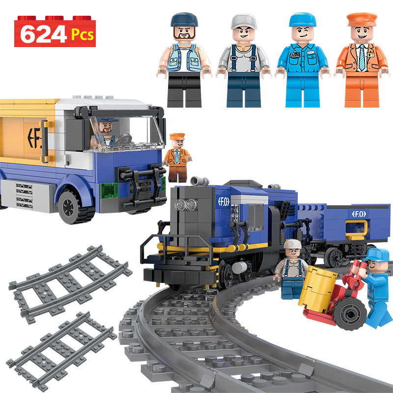 626 pcs Mini Transit Fret Chiffres Briques Ensemble Compatible LegoINGLY Ville Train Créateur Modèle Blocs de Construction Enfant Jouets Cadeaux