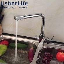 Многофункциональный Латунный Кран Чистой Воды Здоровья Питьевой Воды Смесителя Chrome Кухня Раковина Смесители Две ручки Поворотные Краны