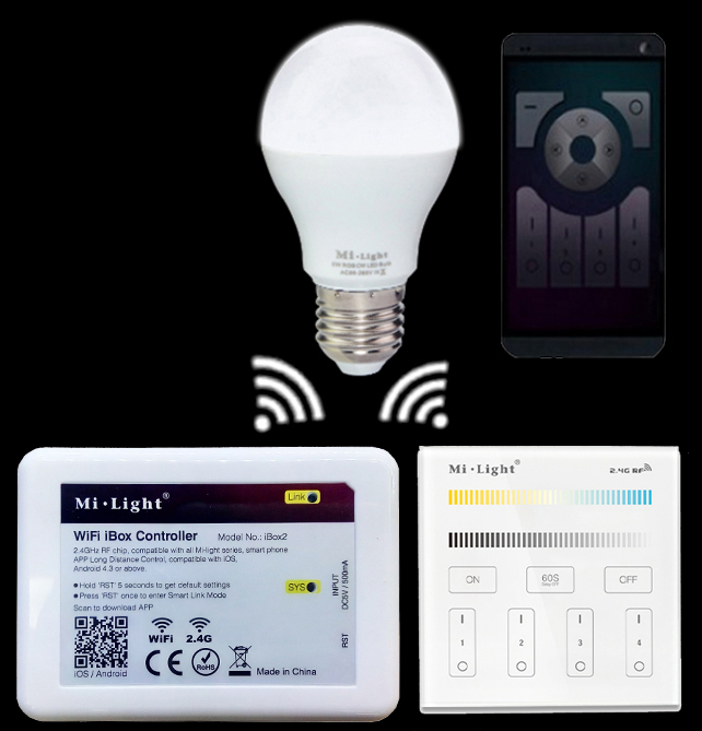Mi.light E27 6W Color Temperature Led Bulb Lamp+Wifi Ibox Led Controller+2.4G B2/T2 Touch Panel Remote