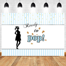 Mehofoto Newborn Photo Background Ready to Pop Theme Party Baby Shower Backdrop Gift for Pregnant Woman Stripes Gold