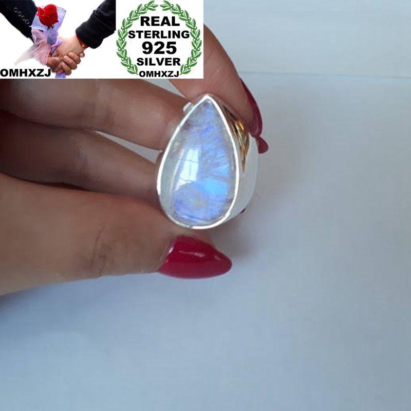 OMHXZJ Wholesale European Fashion Woman Man Party Wedding Gift Silver White Water Drop Moonstone 925 Sterling Silver Ring RR34