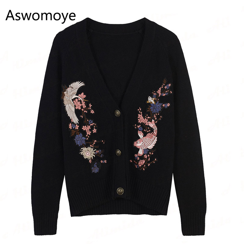 2017 New Fashion Autumn Winter Women Cardigans Full Sleeve Knitted Sweater Embroidery Floral Animal Casual Blouse Single Breast