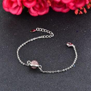 Bracelet Argent Et Quartz Rose