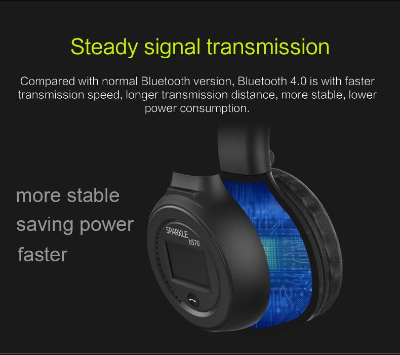 Zealot B570 Earphone Headphone with LCD Screen Bluetooth Headphone Foldable Hifi Stereo Wireless Headset FM Radio TF SD Slot 12