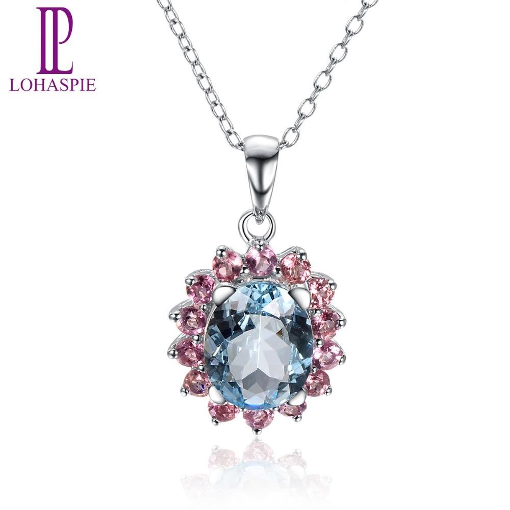 Lohaspie Gemstone Jewelry Solid 18K White Gold Natural Aquamarine & Tourmaline Romantic Pendant Fine Jewelry For Women Gift