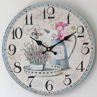 Fashion Home Decoration Good Quality Core Clock Electronic Wall Clock Painted Floral Pattern Relogio De Parede Wall Watch 35cm