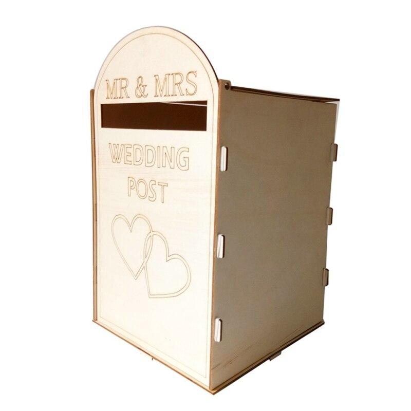 Courrier Royal style boîte postale de mariage en bois bricolage boîte postale avec une clé sculptée boîtes de carte-cadeau accessoires de décoration de mariages