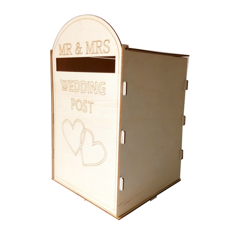 Royal Mail Styled Wedding Post Box Wooden DIY Postbox With A Key Carved Gift Card Boxes Weddings Decoration Accessories