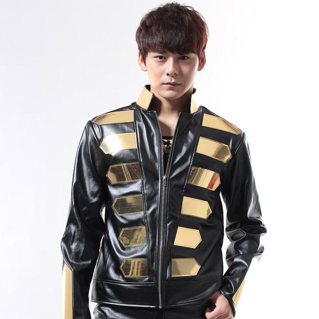 buy popular 094d6 90829 US $123.25 15% di SCONTO|Oro nero giacca Moda femminile maschio dj costume  costumi in pelle metal top decorazione per ballerino cantante discoteca ...