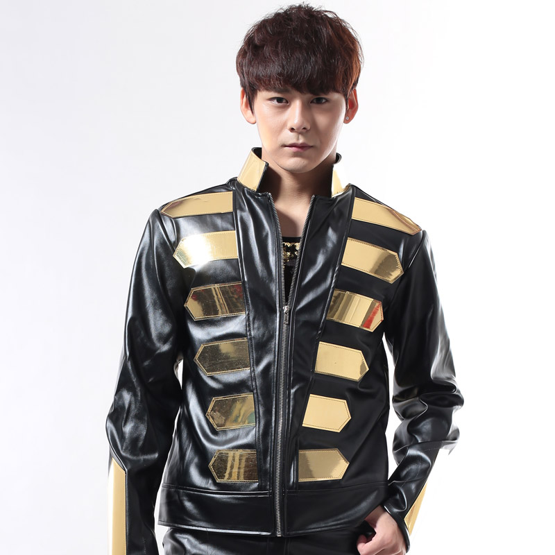 black gold jacket Fashion female male dj costume costumes leather metal top decoration for dancer singer nightclub show