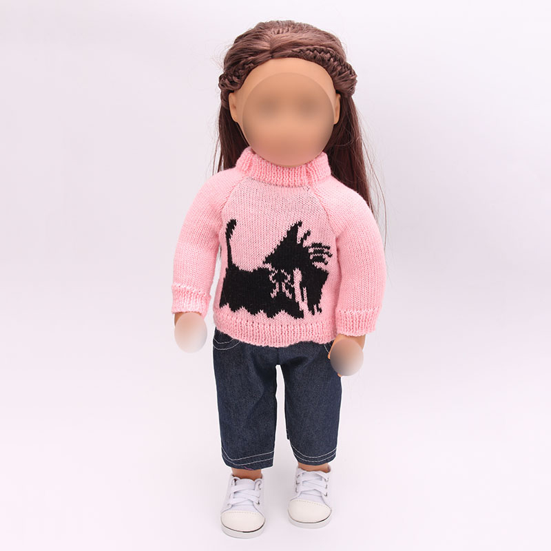 18 inch Girls <font><b>doll</b></font> <font><b>clothes</b></font> Pink embroidered sweater <font><b>set</b></font> + trousers American newborn dress Baby toys fit <font><b>43</b></font> <font><b>cm</b></font> baby <font><b>dolls</b></font> c164 image