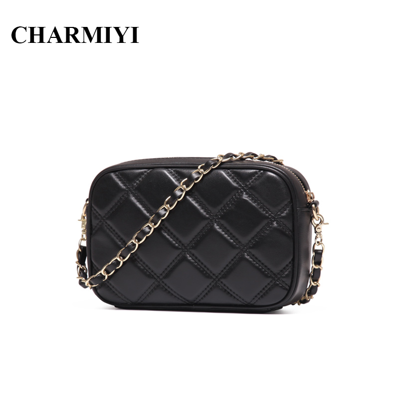 PASTE Mini Genuine Leather Women Messenger Bags Famous Brand Designer Sheepskin Small Fashion Chain Clutch Women