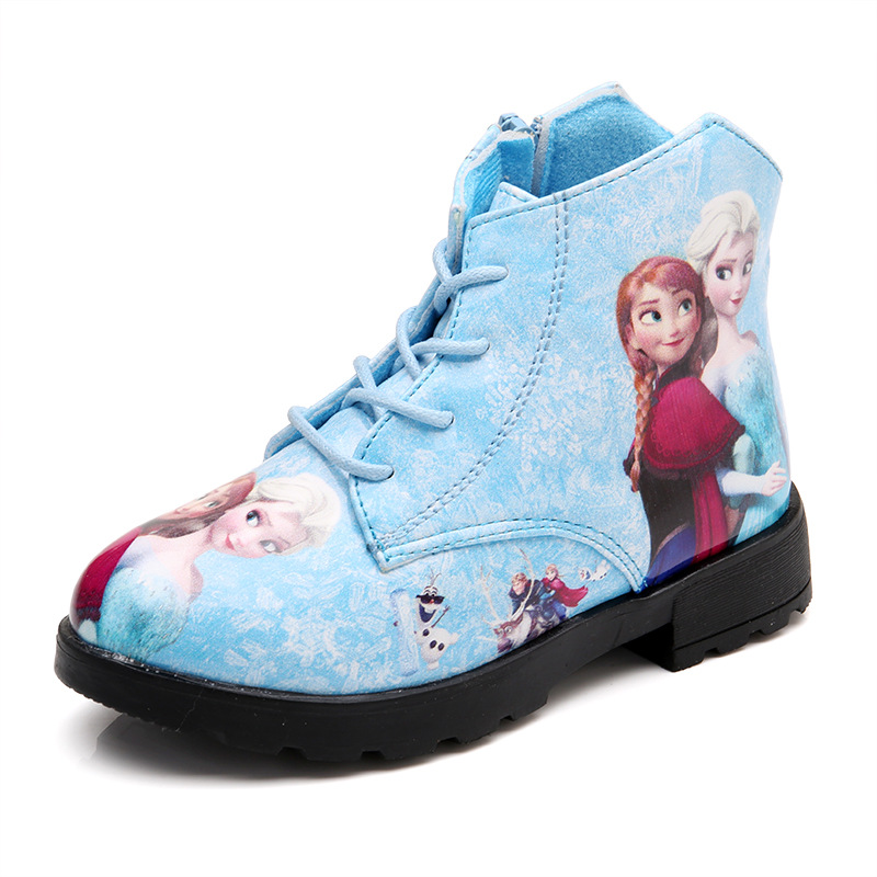 Autumn Winter Girls Snow Boots Kids Fashion Boots Baby Shoes Children Ankle Boots Elsa Anna Princess Thin Velvet 3 To 12 Yrs