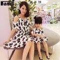 Famli 1 pc vestido de mãe e filha mãe roupas da menina de moda verão floral impressão sem mangas chiffon vestidos de família roupas combinando