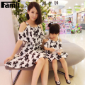 Famli 1pc Mother Daughter Dress Clothes Mom Girl Summer Fashion Floral Print Sleeveless Chiffon Dresses Family Matching Outfits