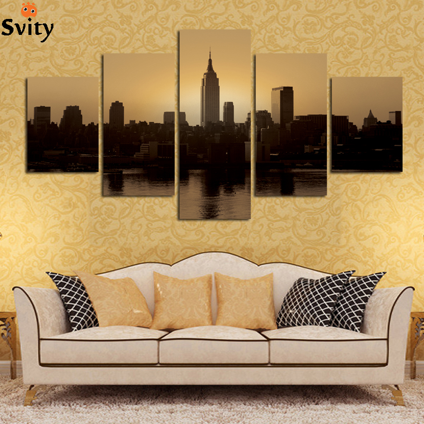 free shipping modern black white city scenery landscape wall ...