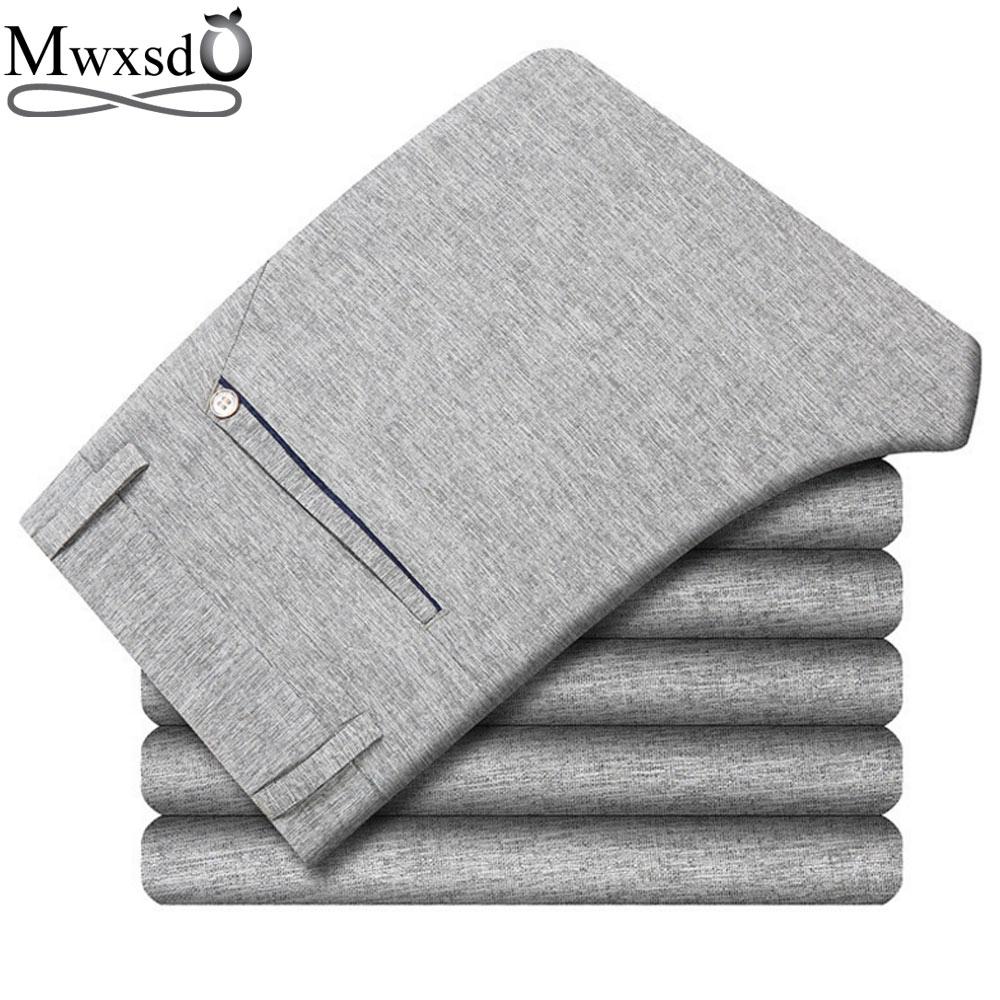 Mwxsd brändi Meeste pesu püksid vabaajaks Meeste pikad õhukesed püksid suvel Straight Business vabaajameeste püksid Meeste vaba aja püksid