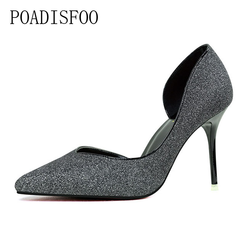 POADISFOO 2018 women pumps Thin Professional OL women's Shoes High Heel Shallow Mouth Pointed  Hollow Single Shoes .ZWM-2891-1 burgundy gray saphire blue pink women dress party career work shoes flock shallow mouth stiletto thin high heel pumps