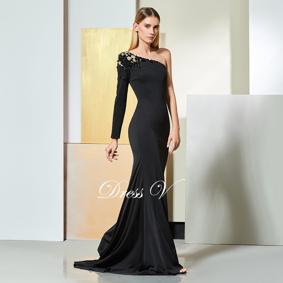 e2e012dda88 Dressv black evening dress one shoulder long sleeves mermaid floor-length  wedding party formal dress