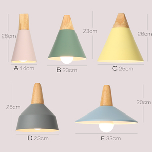 Image 2 - E27 펜 던 트 조명 레스토랑/바 조명 나무 알루미늄 그늘 펜 던 트 램프 전등