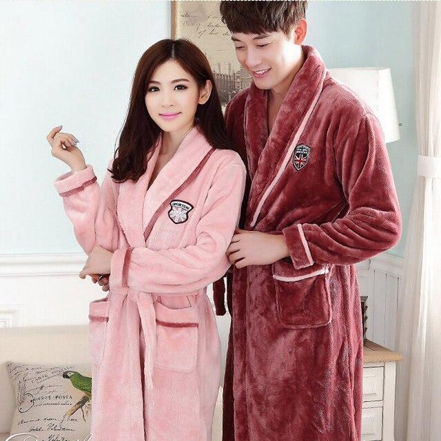 Online Shop Flannel Hooded Couples Bathrobes Peignoir Femme Winter ...