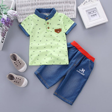 DIIMUU 2PCS Toddler Boy Clothes Baby Boys Casual Clothing Summer Suits Elephant Printing T-Shirts + Dot Short Pants Sets