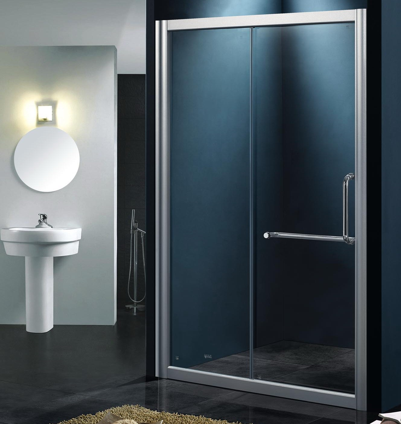 Net shower room bathroom partition bathroom glass door shower screen ...