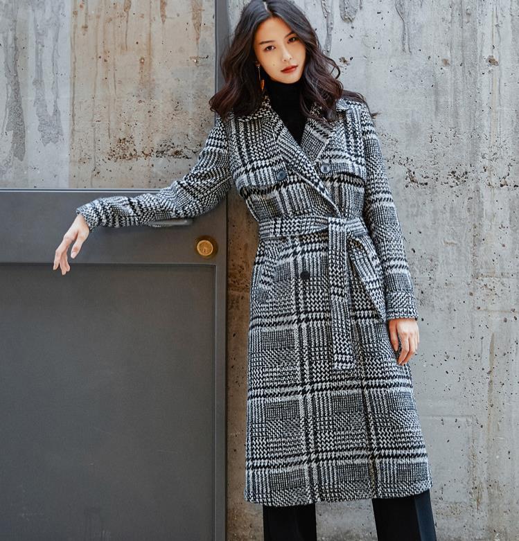 Femmes laine manteau Plaid femmes Slim Long Double boutonnage laine manteaux hiver manteau laine pardessus 2018 laine vestes Trench 1851787