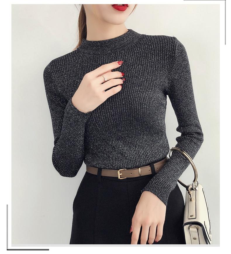 Shiny Lurex Autumn Winter Sweater Women Long Sleeve Pullover Women Basic Sweaters Turtleneck 19 Korean Style Knit Tops Femme 12