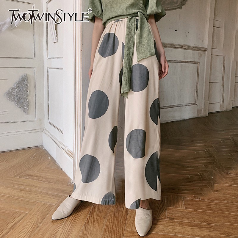 TWOTWINSTYLE Summer Polka Dot Women Trousers High Waist Hit Color Big Size   Wide     Leg     Pants   Female Fashion Clothes 2019 Casual