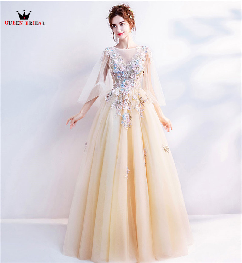 Yellow Elegant   Evening     Dresses   2019 Fashion A-line Tulle Lace Beaded Flowers Luxury Party Gowns   Dress     Evening   Gown CS38