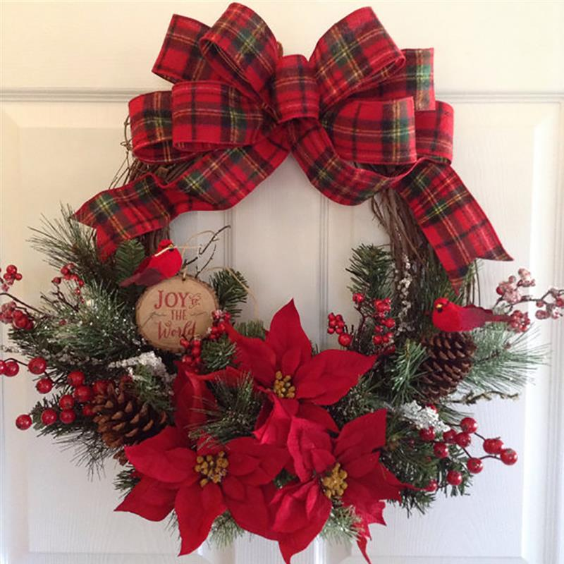 Us 12 57 39 Off Hot Sale Christmas Wreath Artificial Plant Rattan Circle Wall Decoration Simulation Fake Flower Door Hanging Wreath For Home In