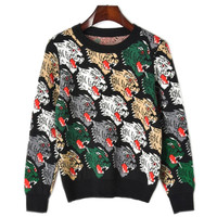 2018 Autumn New Sweater Female Pullovers Tiger Head Pattern Casual Europe Knitted Sweaters Pullover Runway Designer Tops Jumper