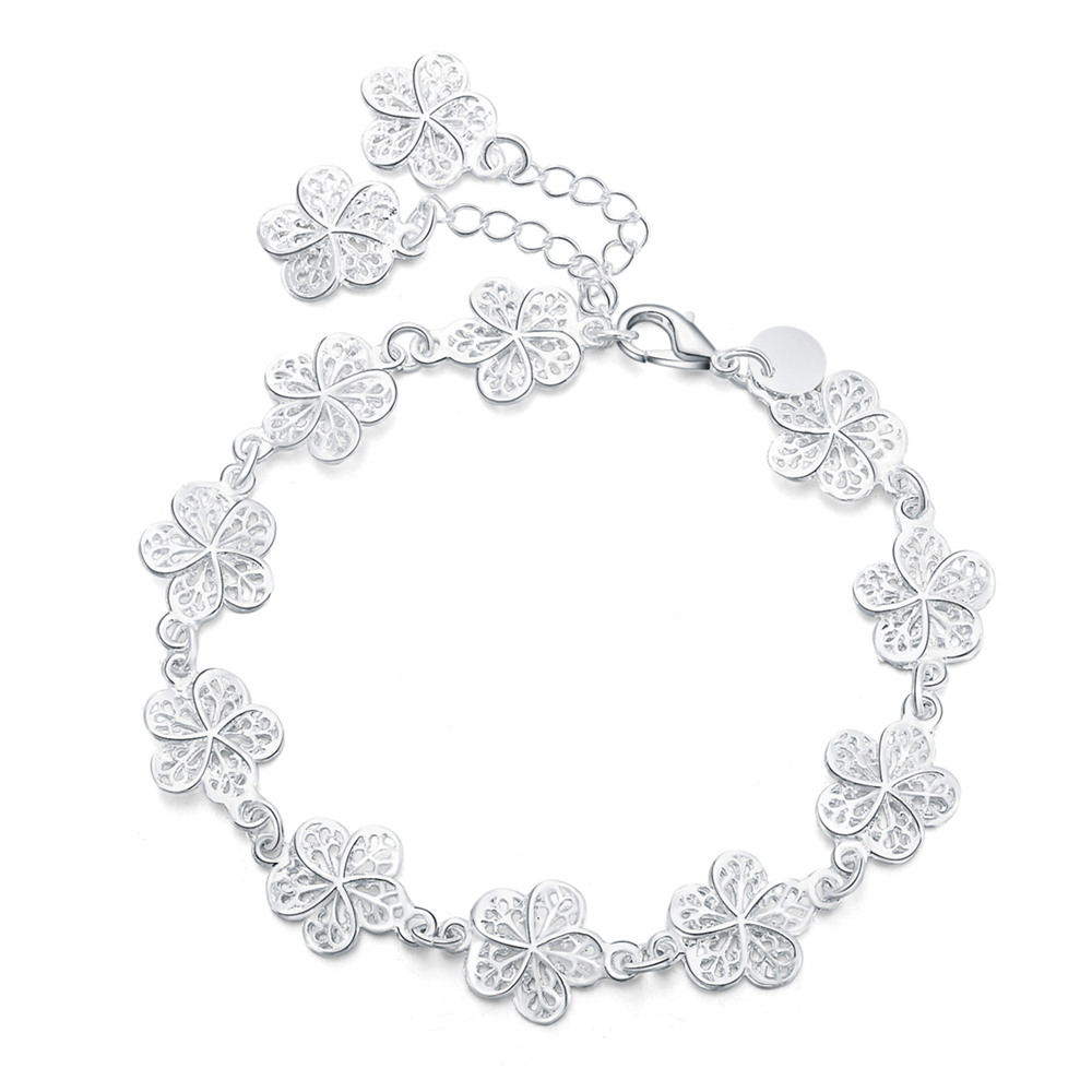 new arrive Beautiful bracelet noble flower chain fashion Wedding Party Silver cute lady nice women bracelet jewelry LH013