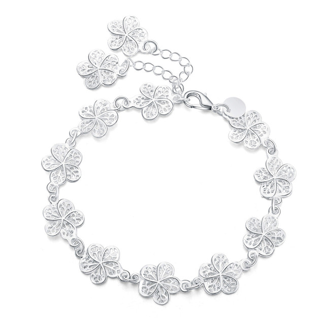 new arrive Beautiful bracelet noble flower chain fashion Wedding Party Silver cu