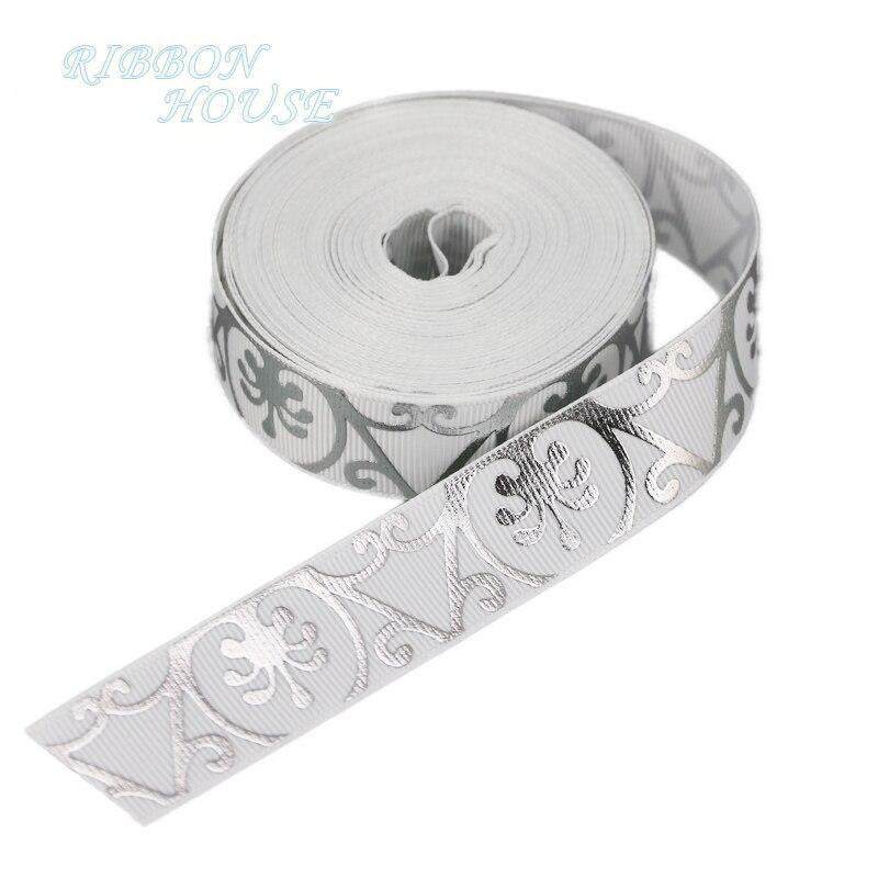 (Мм 10 ярдов/партия) 22 мм белый горячего тиснения цветок grosgrain лента подарок свадебные ленты
