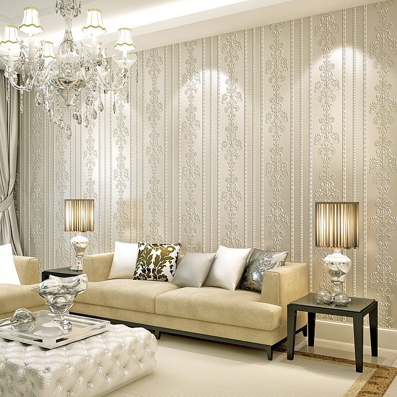 3D Embossed Non woven Self adhesive Wallpaper For Bedroom Room Wall Peel and Stick Roll Decor Craft Fabric Contact Paper Wedding in Wallpapers from Home Improvement