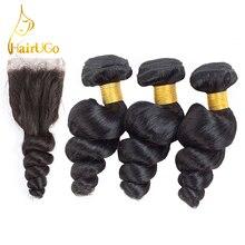 """""""HairUGo"""" plauku iš anksto atspalvio Brazilijos laisvoji banga 3 paketai su uždara # 1B Gamta Juoda spalva 100% Žmogaus plaukai plakite pluoštus plaukus"""