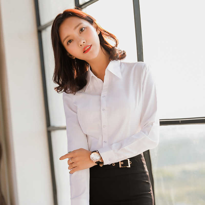 Women blouse long sleeve shirts solid color office social shirts white color slim fit Formal blouses Tops Plus Size Blusas