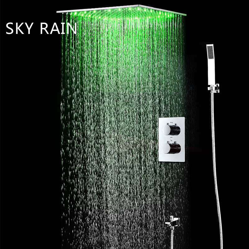 Alert Bathroom Shower Set Thermostatic B Shower Faucets Led Ceiling Rainfall Showerhead Misty Waterfall Rain Shower With Slide Bar Shower Faucets