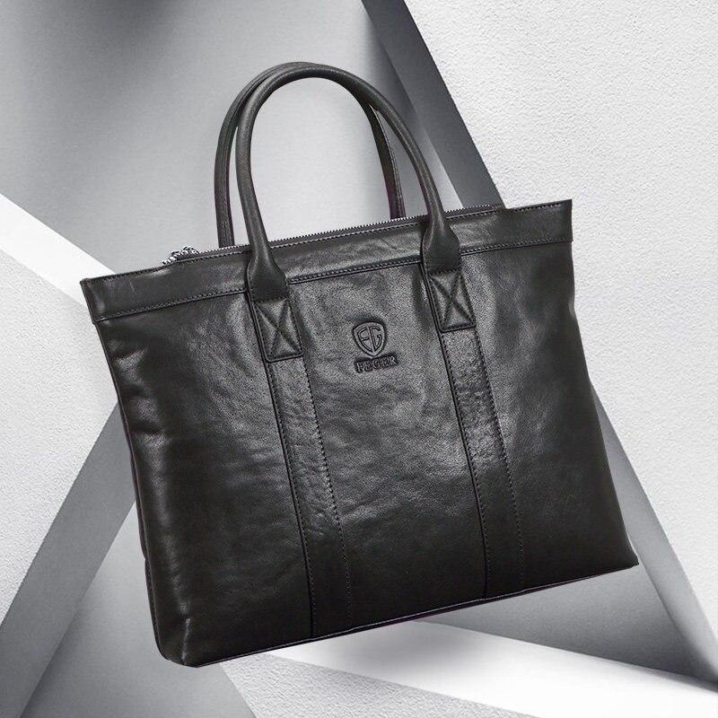Hommes en cuir véritable sac fourre-tout hommes sac à main marque affaires sac à main décontracté hommes sac à bandoulière sacoche pour ordinateur portable hommes sacs à main sacs F