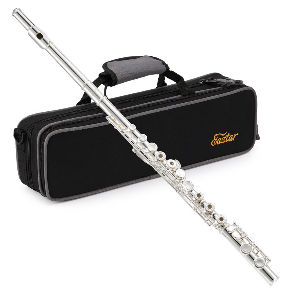 Eastar EFL-2 Open/Close Hole C Flutes 16 Keys Silver Plated Flute Set Musical Instrument With Flute Stand Case Cleaning Tool