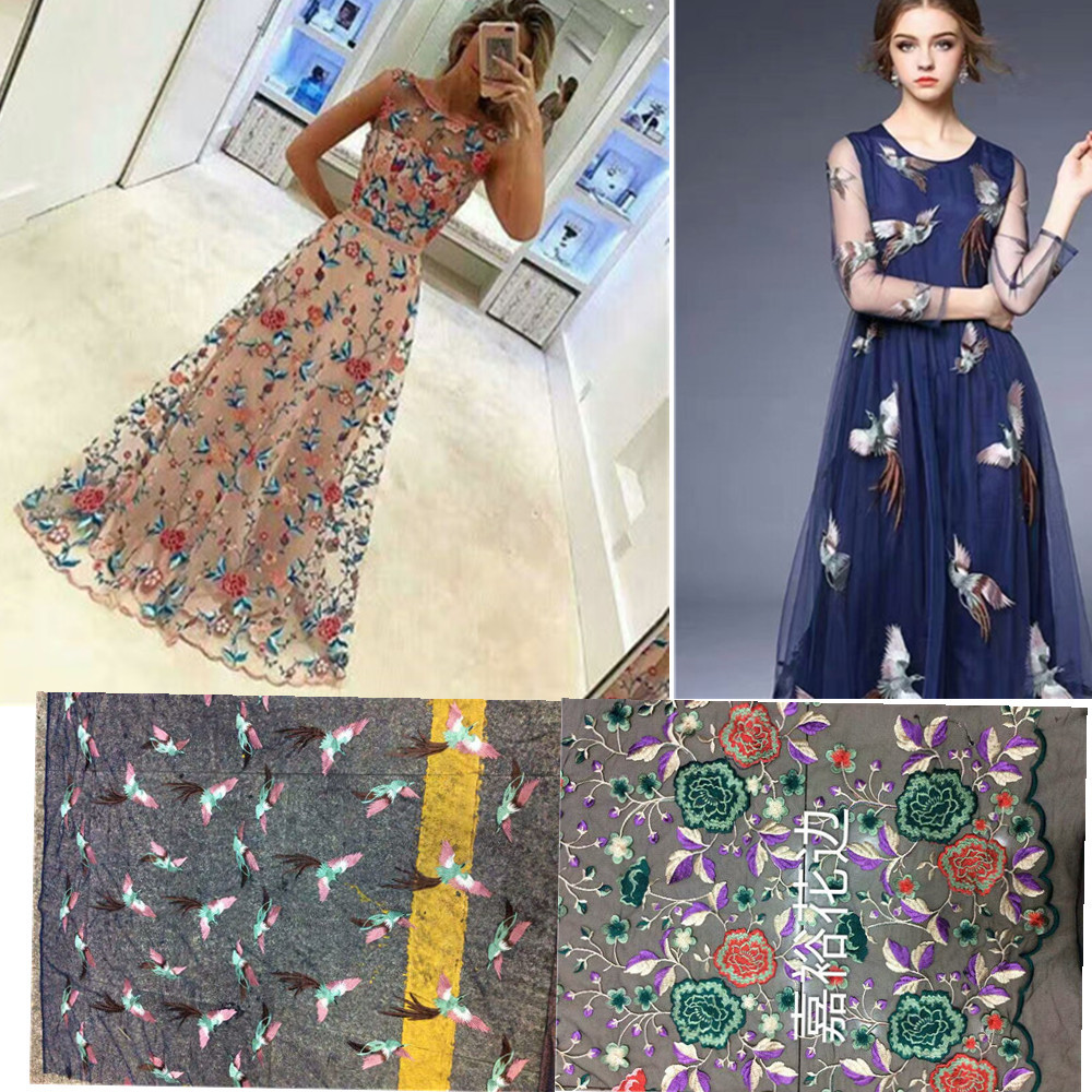 Black Mesh Couture Fashion Fabric, Vogue Sexy, Embroidery Colorful  Floral,sculpture, Sew For Top, Skirt, Dress,craft By The Yard