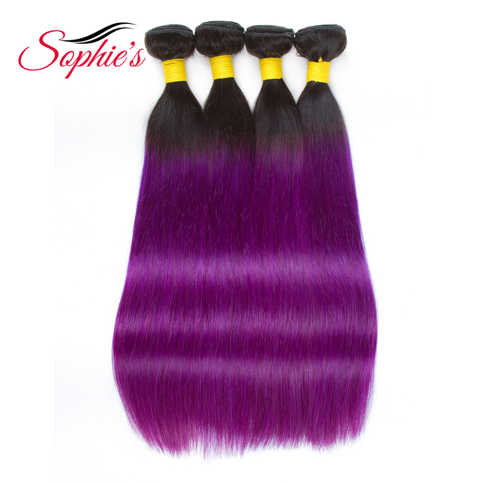 Sophies Pre-colored Ombre Hair Bundles Weaves #T1B/Purple Color 4 Bundles Human Non-Remy Straight Brazilian Hair Extensions