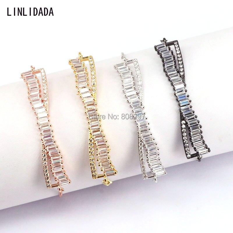 10Pcs New chic design multi color cz connector cham adjustable chain bracelet jewelry wh ...